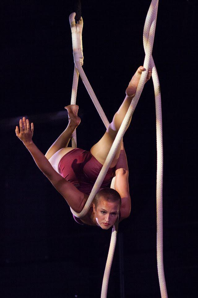 Acrobat in a rope hammock