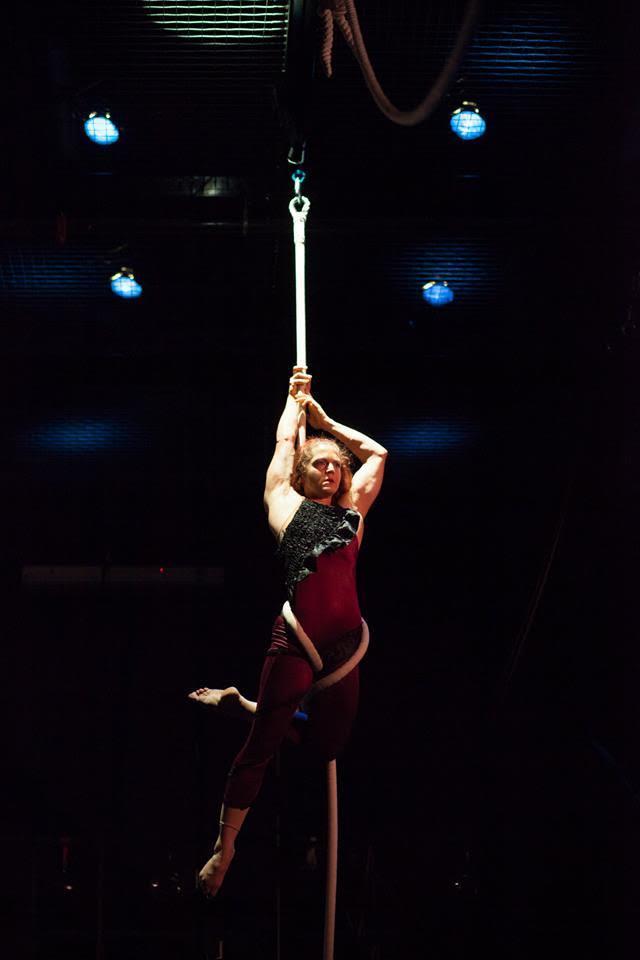 Acrobat on an aerial rope