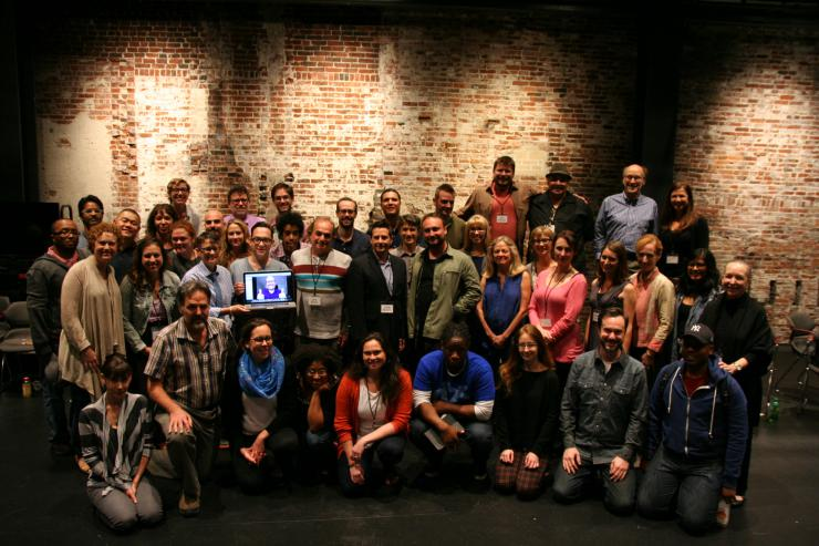 large group of playwrights smiling