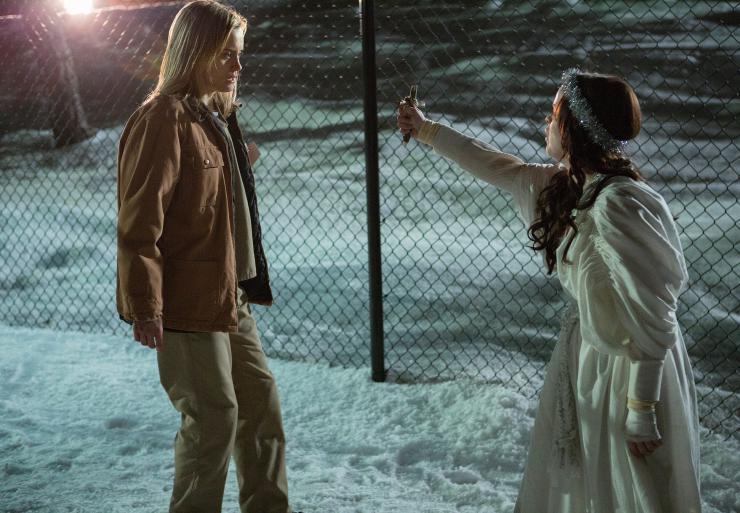 Two actors in snow