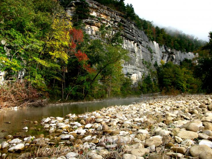 stream surrounded by colorful trees and Roark Bluff cliff face