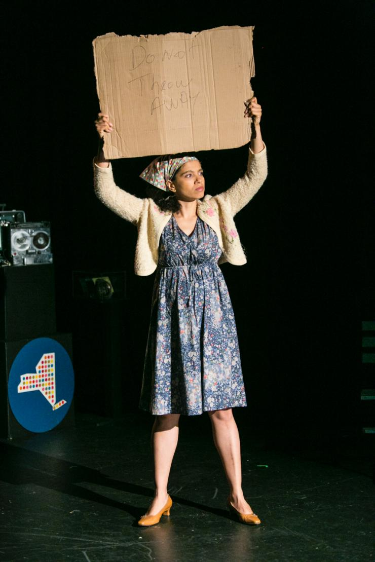 A woman on stage