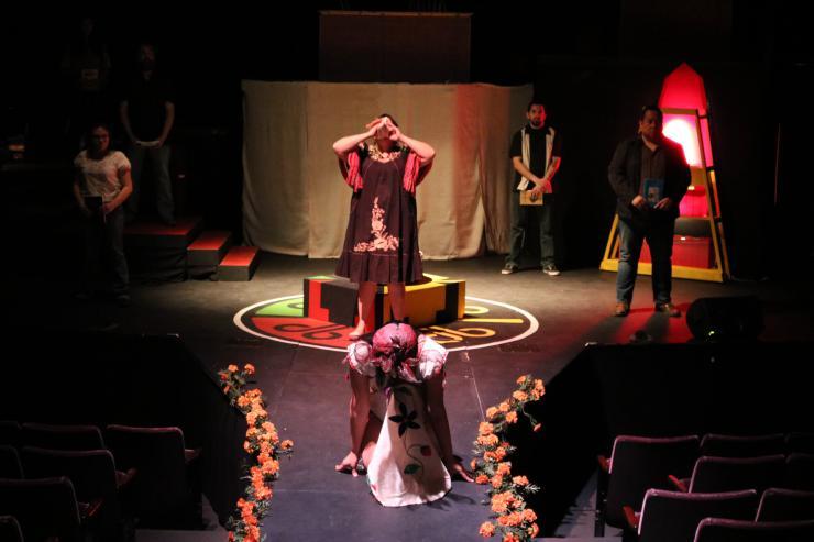 actors on stage in Milta Ortiz's Mas