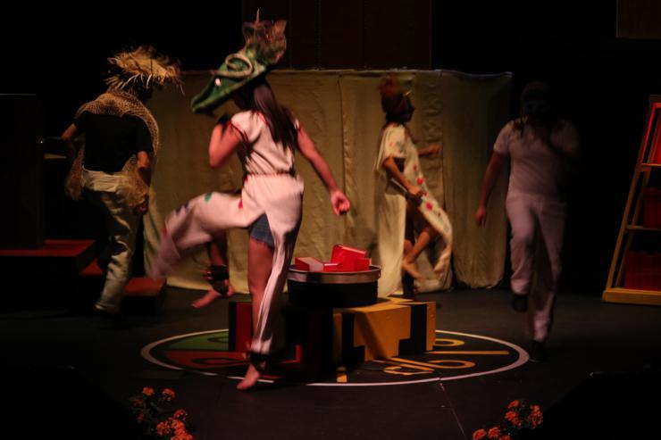 actors dancing on stage in Milta Ortiz's Mas