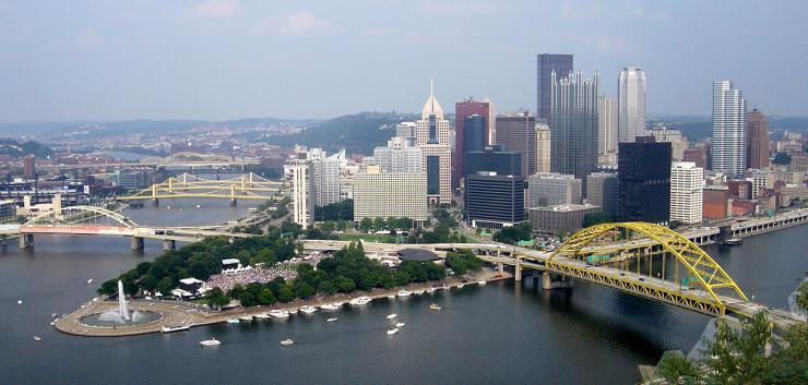 Aerial photo of Pittsburgh skyline