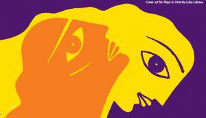 book graphic of yellow faces over purple background