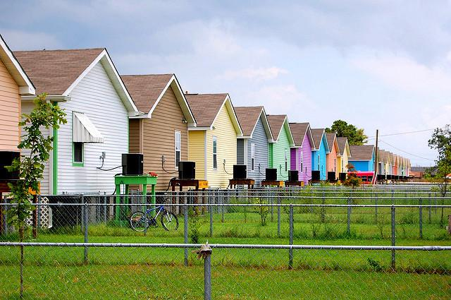 long line of multicolored pastel houses