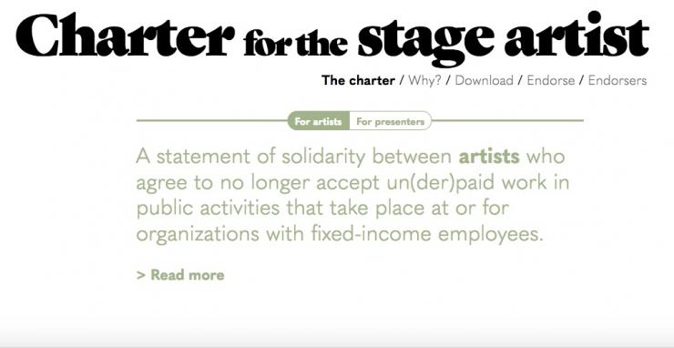 "screenshot from the ""Charter for the stage artist"" website"