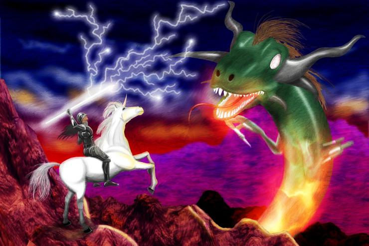 woman in armor on a unicorn slaying a dragon with lightning
