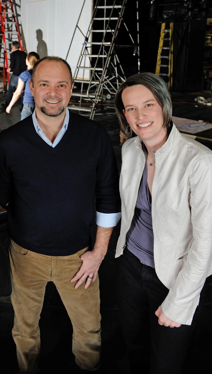 Man and women smiling at camera