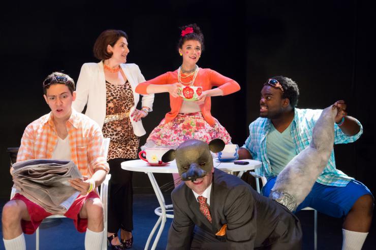 six actors on stage