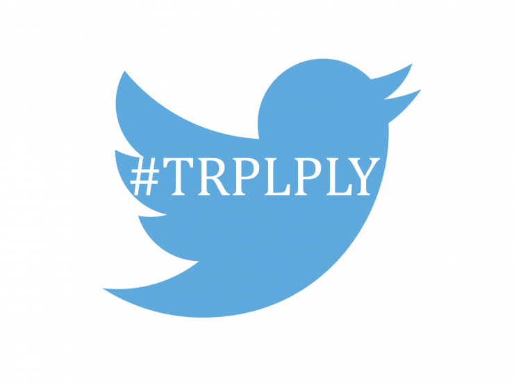 Twitter logo with hashtag: #TRPLPLY