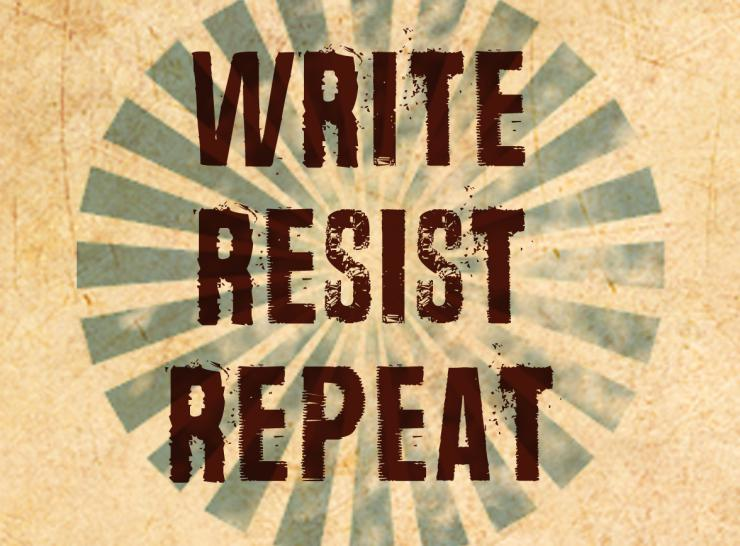 logo/graphic (write, resist, repeat)