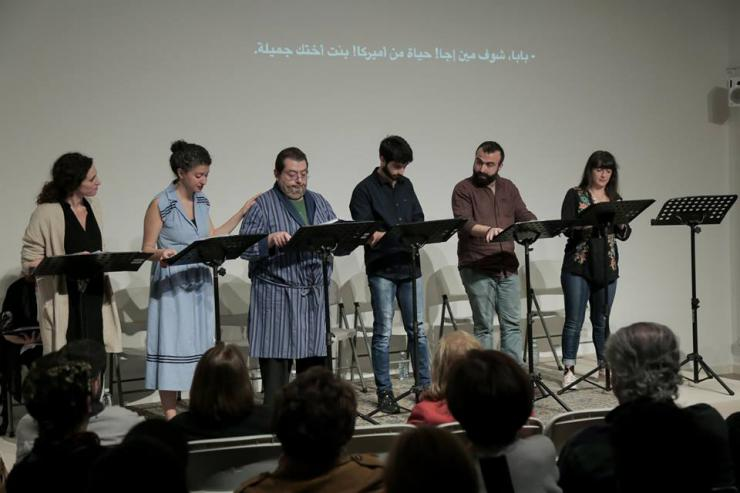 six performers at a staged reading