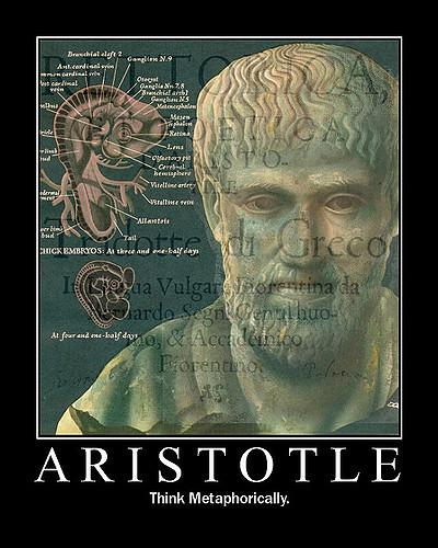 "Poster featuring Aristotle: ""Aristotle -- Think Metaphorically."""