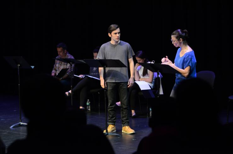 two actors at a staged reading