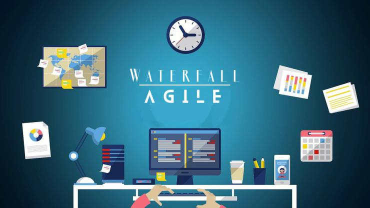 cartoon desk with waterfall and agile written on the wall