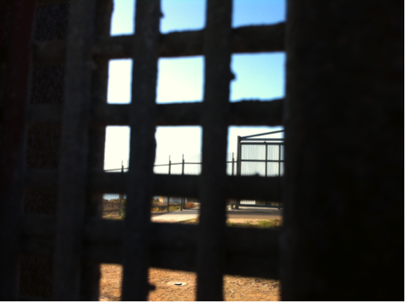 View from inside a barred window of a border fence
