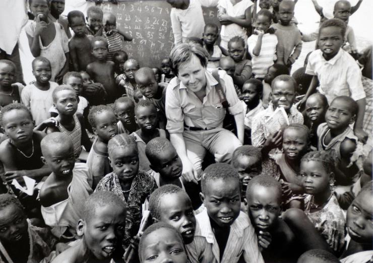 Paul Watson surrounded by children