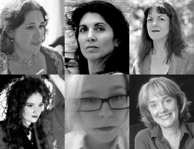 headshots of Charlotte Meehan, Lisa Schlesinger, Caridad Svich, Ruth Margraff, Lisa Timmel, Kate Snodgrass