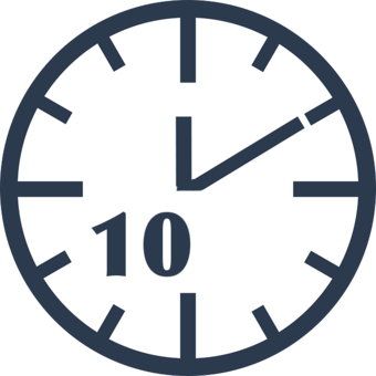 clock showing 10 minutes