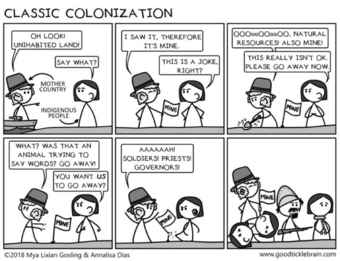 A cartoon depicting colonization.