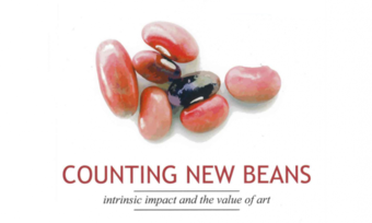 "Several kidney beans lying around. Beneath them, the words ""counting new beans: intrinsic impact and the value of art"""