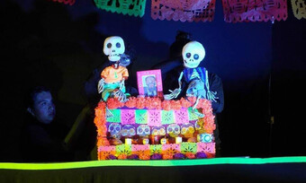 a puppeteer maneuvers two skeleton puppets