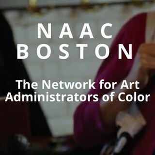 naac boston: network for art administrators of color text over photo of two people's shoulders