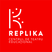 red logo with white text