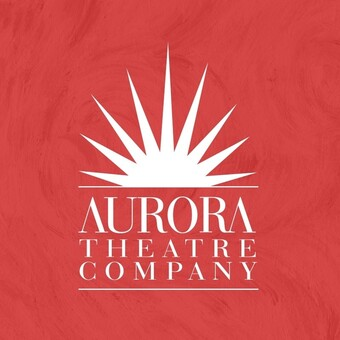 red background with rising sun graphic and white aurora theater text