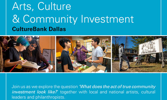 event photos on blue background with arts, culture, & community investment text