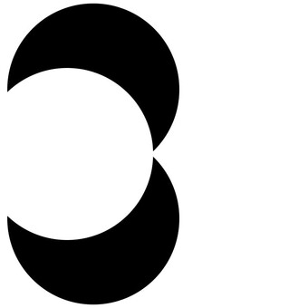 two black half moons shaped to make a 3