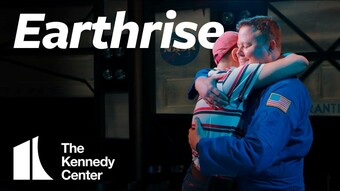 actor hugging a child with text Earthrise Kennedy Center