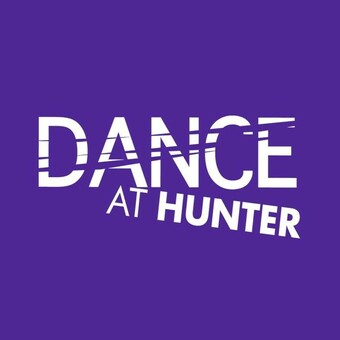 white text on purple background dance at hunter