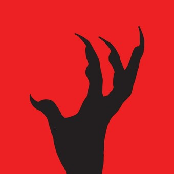 red background with black claw silhouette
