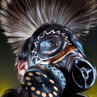 Performer wearing a mask.