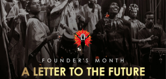 "Photo of people with National Black Theatre's logo and the text ""founder's Month a ltter to the future"""