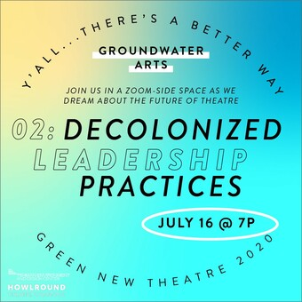 text DECOLONIZED LEADERSHIP PRACTICES on blue and yellow background