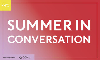 Text: Summer in Conversation on top of a red background.