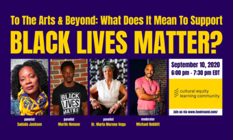 Poster with headshots of speakers that says Black Live Matter.