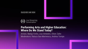 event graphic for the convesation: Performing Arts and Higher Education: Where Do We Stand Today?