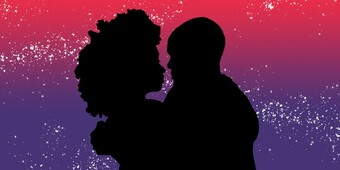 silhouette of two people embracing, with a red and purple starry background.