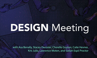 "a purple background with the text ""DESIGN meeting"" and the event participants names listed."