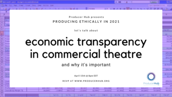 purple border around black text economic transperency in commercial theater.