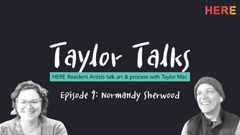 black background with white text taylor talks above black and white portraits of artists.