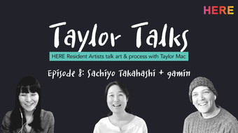 black background with white text taylor talks above black and white portraits of artists