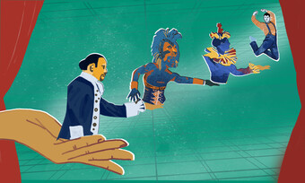 An image of a hand, and in its palm is a shakespearean actor with his arm extended offering an actor from the Lion King, who is offering a clown, who offers a leaping person. They appear in front of a teal background that is bordered by red curtains.