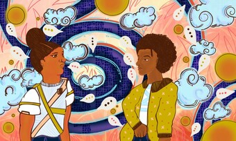 An illustration of two Black people with different hairstyles and outfits, surrounded by clouds and suns, against an orange and blue background.