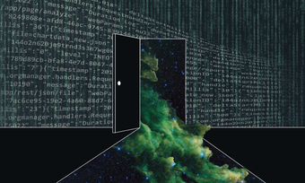 Footnote 3. An image of a door that opens up and allows a green galaxy of starts to pour through it. The door is on a wall of coding.